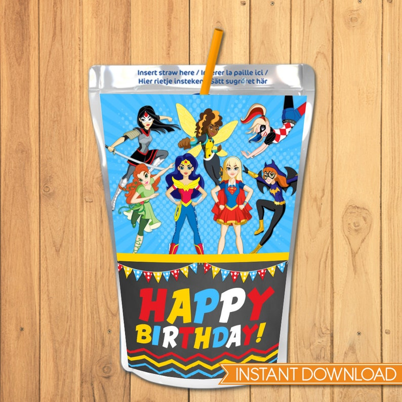 DC Superhero Girls Capri Sun Label - DC Superhero Girls Drink Pouch Label -  DC Superhero Girls Favors - Dc Superhero Girls Birthday 100695