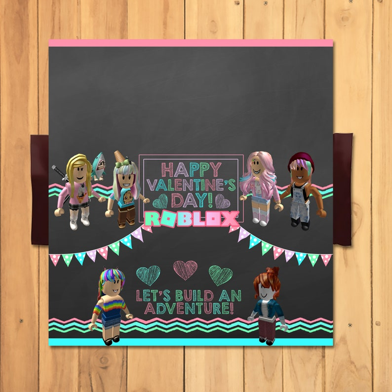 Girl Roblox Valentine's Day Candy Bar Wrapper * Girl Roblox School Valentines * Valentines Candy Bar Wrapper - Roblox Party Favors 100855