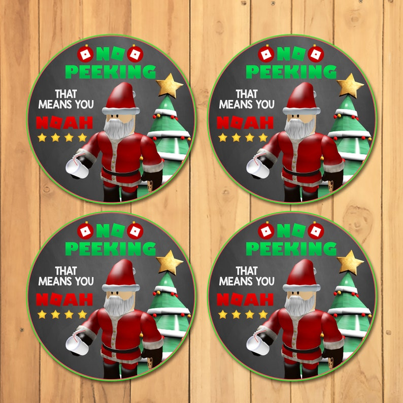 Roblox Christmas Gift Stickers - Roblox Christmas Gift Tags - Roblox No Peeking Favor Tag - No Peeking 4 in Custom Roblox Tags - 101036