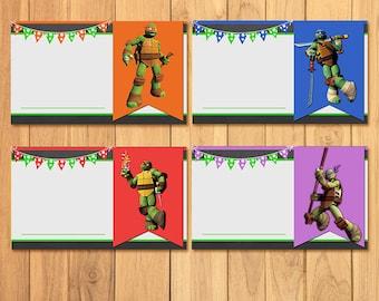Teenage Mutant Ninja Turtles Food Tents Chalkboard * TMNT Food Labels * TMNT Birthday Printable * Ninja Turtles Editable Food Tents