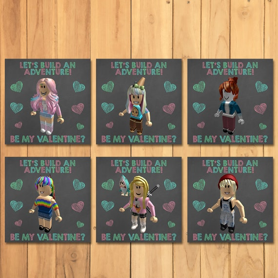 Girl Roblox Valentine's Day Cards Chalkboard * Roblox School Valentines for Girls * Roblox Printable Valentines Cards - Roblox Party Favors