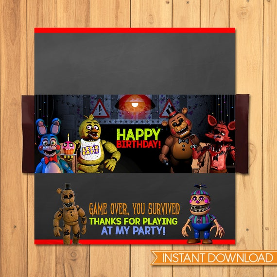 Five Nights at Freddy's Candy Wrapper Chalkboard - FNAF Birthday Party - 5 Nights Freddys Chocolate Bar Label - 5 Nights Freddy's Video Game