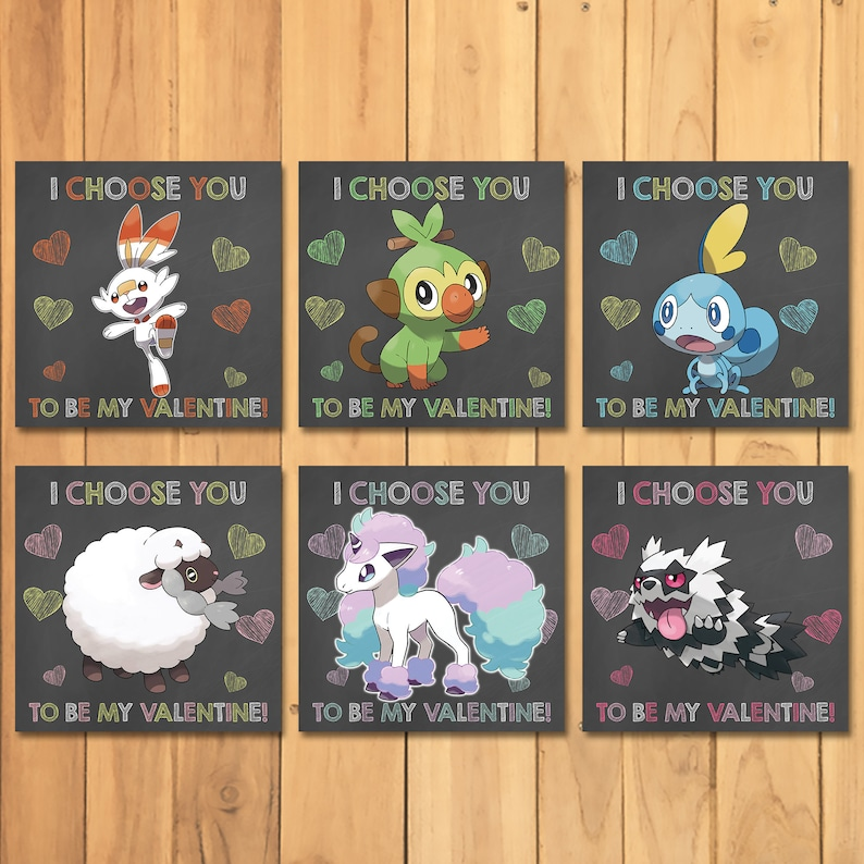 Pokemon Valentine's Day Cards Sword & Shield Set- Chalkboard * Pokemon Valentines * Pokemon Favors * Pokemon School Valentines * 101049