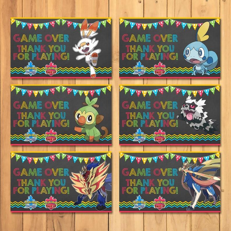Pokemon Sword & Shield Party Tags - Pokemon Favor Tags - Pokemon Birthday Party - Pokemon Party Printable - Pokemon Party Favors - 101060