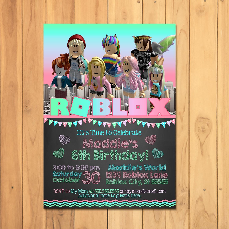 Girl Roblox Invitation Pink Birthday Party