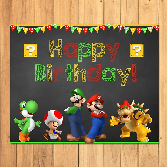 Super Mario Brothers Happy Birthday Sign Super Mario Etsy