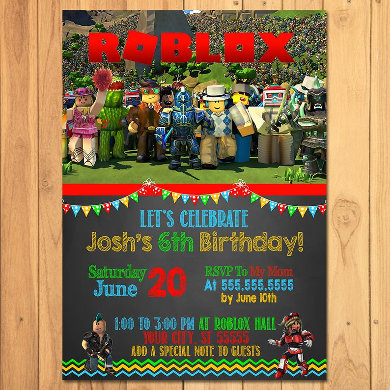 Roblox Invitation Chalkboard Birthday Party