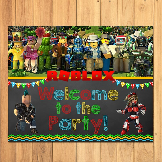 Roblox Welcome To The Party Sign Chalkboard Roblox Birthday Party