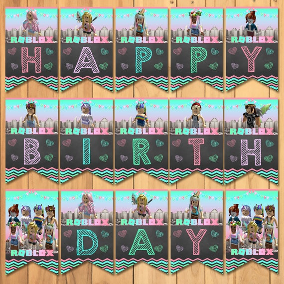 Girl Roblox Happy Birthday Banner Pink Roblox Birthday Party Etsy