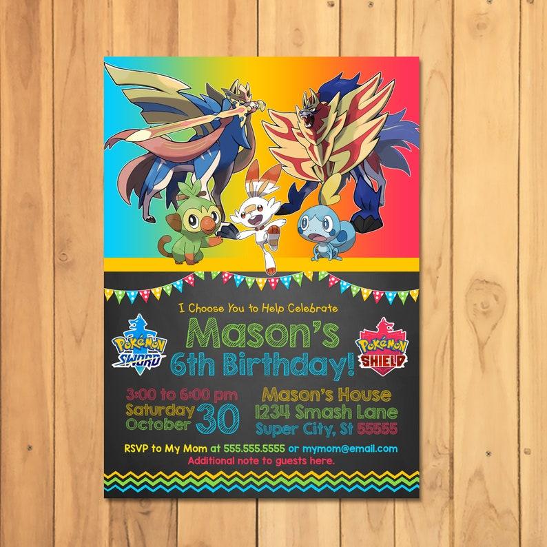 Pokemon Sword & Shield Invitation - Pokemon Sword and Shield Birthday Party - Nintendo Party Printables - Video Game Party Invite - 101060