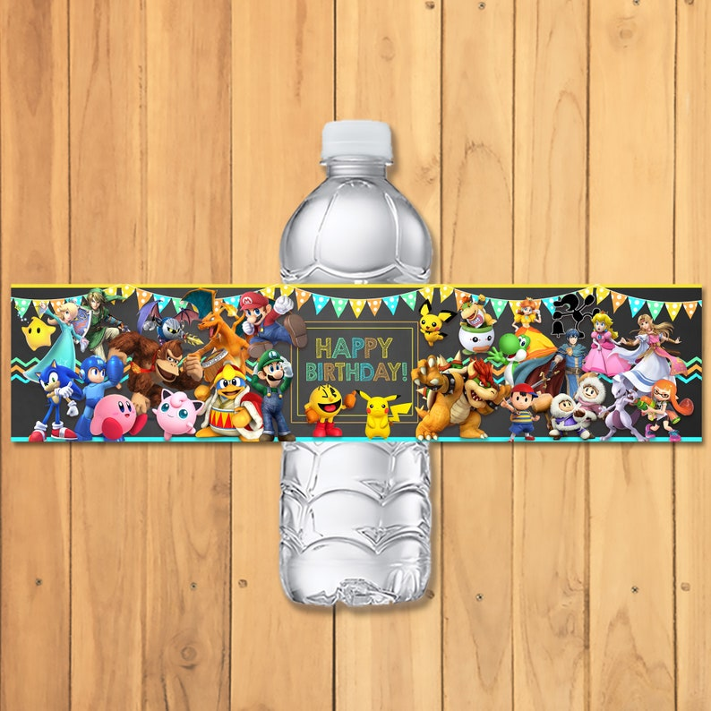 Super Smash Brothers Drink Label - Super Smash Brothers Birthday Party - Nintendo Party Printables - Video Game Party Water Label - 100930
