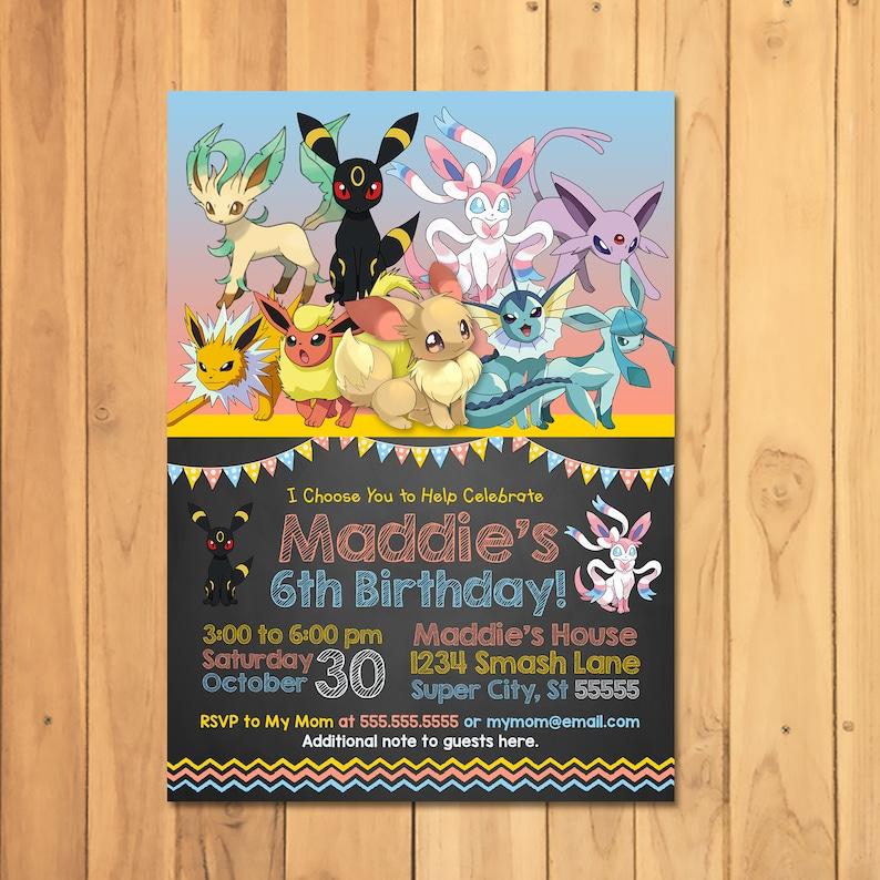 Pokemon Eevee Evolutions Invitation - Pokemon Eevee Evolutions Birthday Party - Pokemon Party Printables - Pokemon Party Invite - 101061