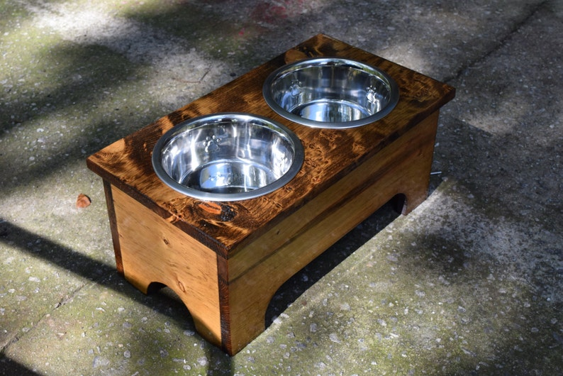 Rustic Wooden Dog Dish Stand