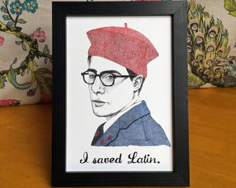 """Max Fischer Rushmore Wes Anderson Illustration Art Print """"I Saved Latin"""""""