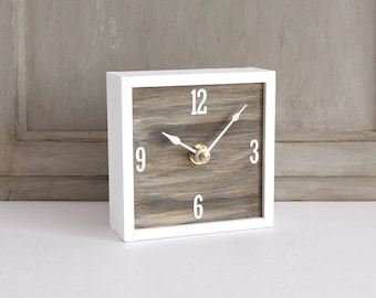 Wood Desk Clock Etsy