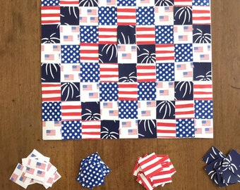Patriotic Paper Quilt Printable Kit   Fourth of July Paper Craft Project Downloadable Kids Classroom Activity Summer Art Paper Scrapbooking