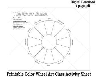 picture regarding Printable Color Wheel Worksheet known as Colour wheel printable Etsy