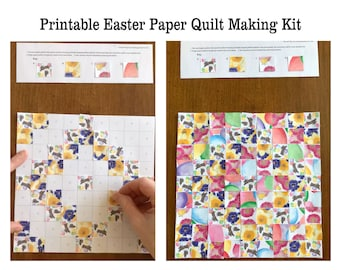 Easter Craft Spring Art Project Printable Paper Quilt Kit Kids Fun Activity Bunny Chicks Flowers Daffodils Pansies Scrapbooking Download