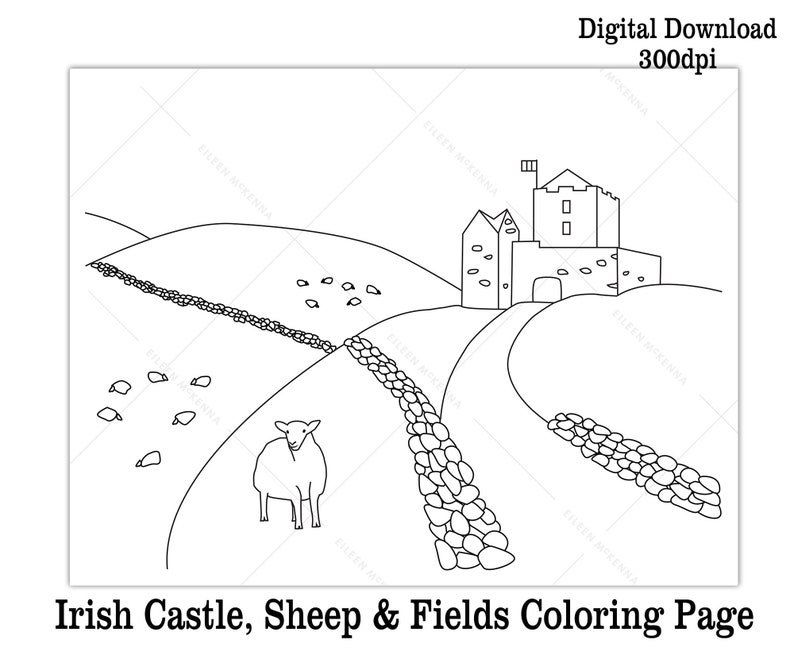 photograph about St Patrick's Day Coloring Pages Printable named Printable St. Patricks Working day Coloring Website page Little ones Cl Match Electronic Down load Irish Castle Sheep and Fields Black and White Worksheet