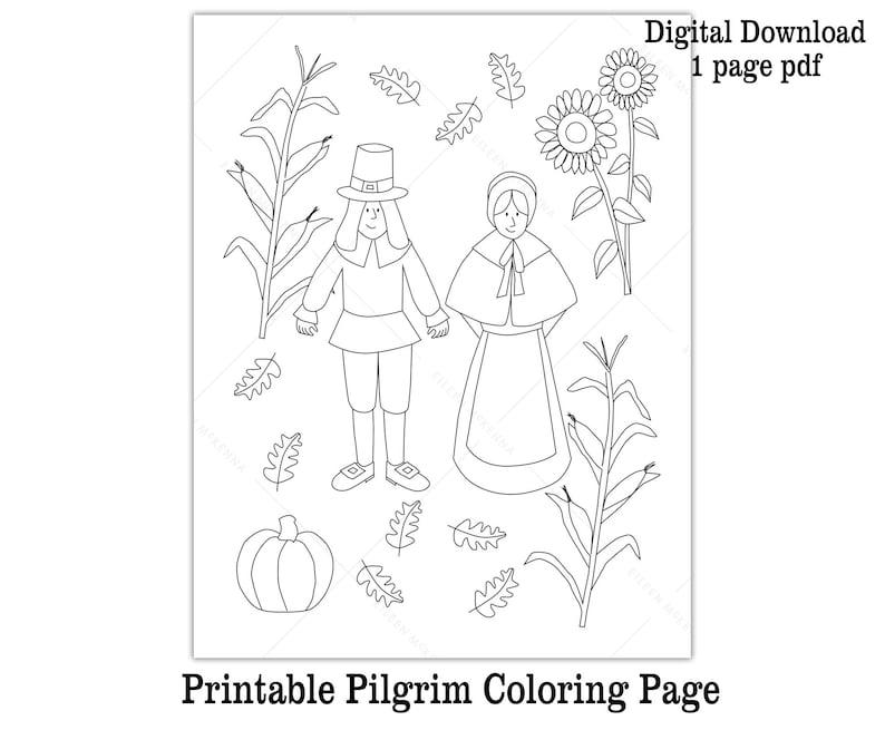 Pilgrim Coloring Page Printable Thanksgiving Sheet Fun Kid image 0