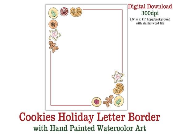 Christmas Letter Border.Christmas Cookies Holiday Letter Border Digital Download