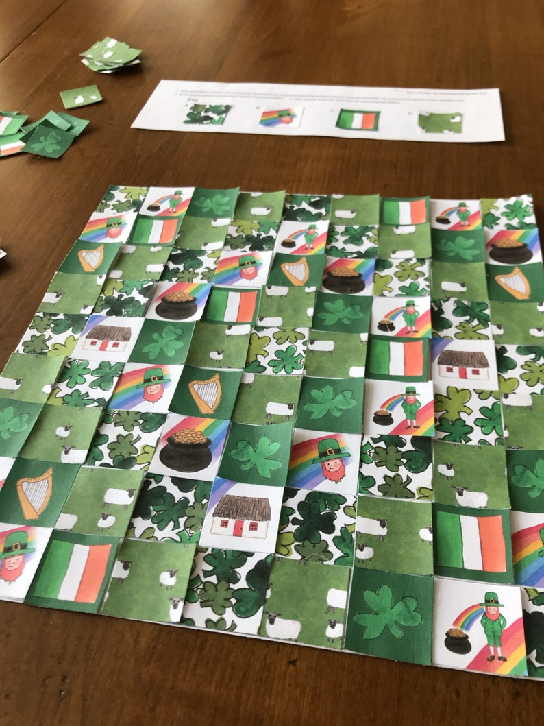 St Patricks Day Craft Printable Paper Quilt Kit St Paddys Day image 0