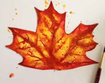 Kids Fall Leaf Watercolor Art Project   How to Paint Fall Leaves   Beginner Watercolor Painting Lesson Printable Step by Step Instructions