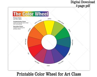 Printable Color Wheel AND BW Coloring Sheet   Kids Art Class Activity Sheet Digital Download Color Wheel Worksheet + Full Color Color Wheel