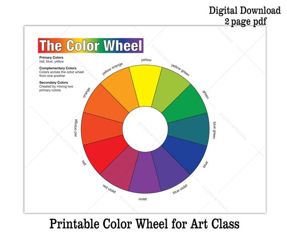 Printable Color Wheel And Bw Coloring Sheet Kids Art Class Etsy