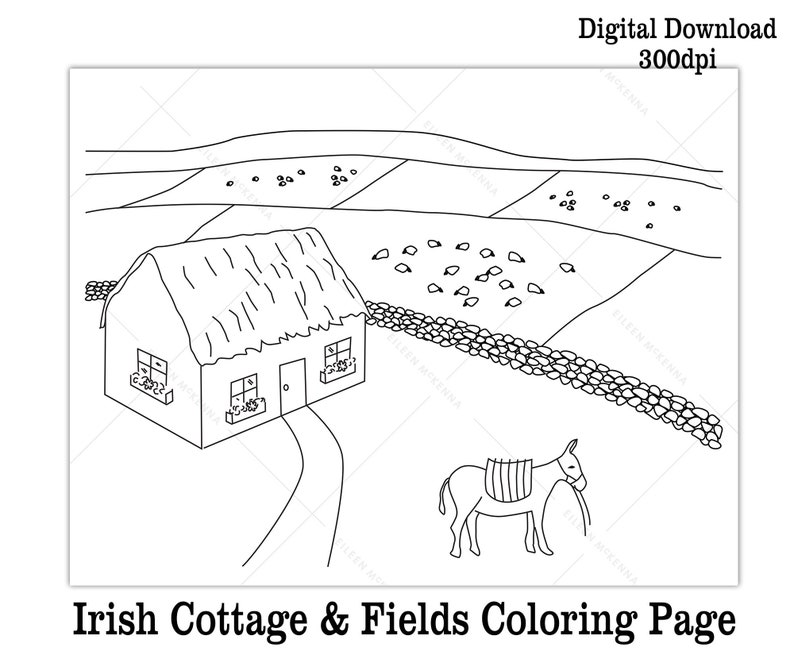 photograph relating to Printable St.patrick Day Coloring Pages named Printable St. Patricks Working day Coloring Web site Children Cl Match Electronic Down load Irish Cottage Donkey and Fields Black and White Worksheet