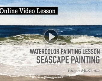 Watercolor Seascape Online Video Painting Lesson - Learn how to paint watercolor seascapes with this 10 step tutorial