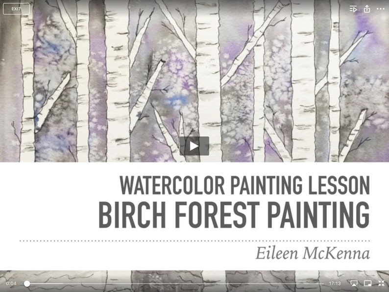 Easy Birch Forest Watercolor Online Video Painting Lesson  image 0
