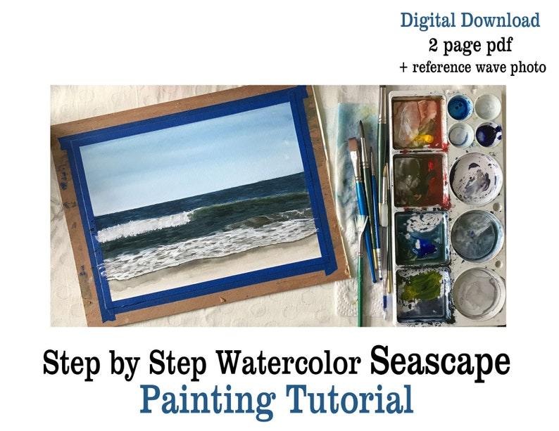 Watercolor Seascape Lesson Printable Tutorial  How to Paint image 0
