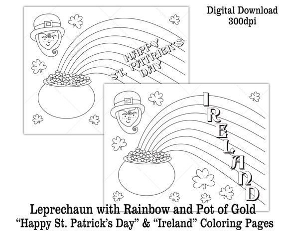 Printable Leprechaun St. Patrick\'s Day Coloring Page Kids Class Activity  Rainbow Pot of Gold Digital Download | Black and White Worksheet