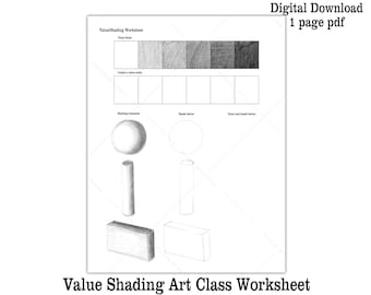 Drawing Lesson Shading Worksheet Printable Value Scale Kids Art Lesson Art Class Activity Sheet How to Draw How to Shade Worksheet Download
