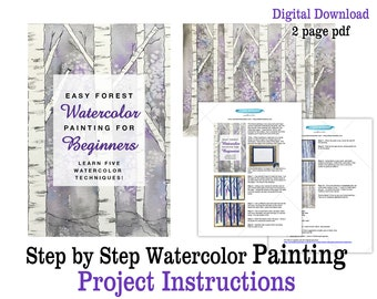 Step by Step Watercolor Painting Project Printable Instructions Easy Winter Birch Forest Watercolor Painting Project for Beginners Handout
