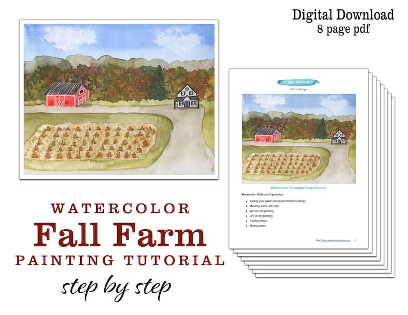 Fall Watercolor Painting Project  Kids Fall Farm Watercolor image 1