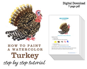 How to Paint a Turkey in Watercolor   Beginner Kids Thanksgiving Watercolor Painting Art Lesson   Printable Instructions Painting Tutorial
