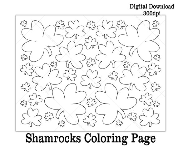 Printable Shamrocks St. Patrick's Day Coloring Page Kids