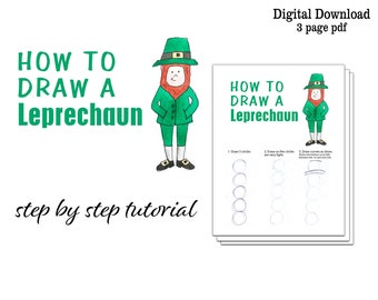 How to Draw a Leprechaun   Kids St. Patrick's Day Activity St. Patrick's Day Art Lesson   Printable Beginner Drawing Tutorial step by step