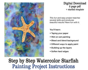 Beginner Watercolor Project   How to Paint with Watercolor   Starfish Painting Lesson Printable Step by Step Summer Art Tutorial