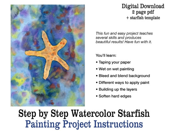 Easy Starfish Watercolor Painting For Beginners Step By Step Printable Pdf Project Instructions Beginner Watercolor Art Lesson Tutorial
