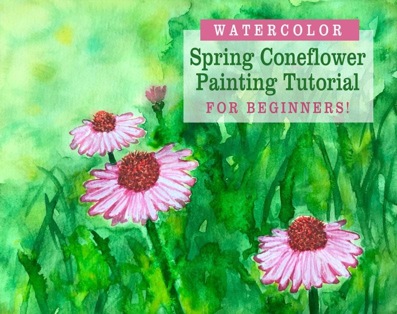 Flower Painting Lesson Beginner Watercolor Painting Tutorial image 0