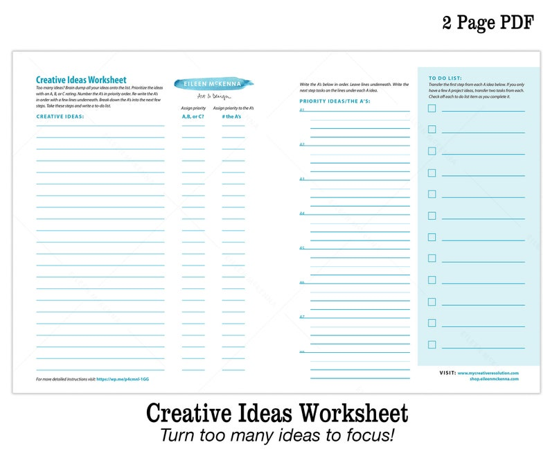 Creative Ideas Printable Worksheet  How to Focus with Too image 0