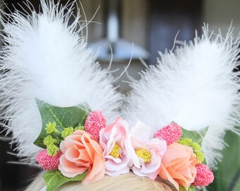 Easter bunny ears headband made with silk flowers / easter headband / bunny ears headband / newborn headband / toddler headband / photo prop