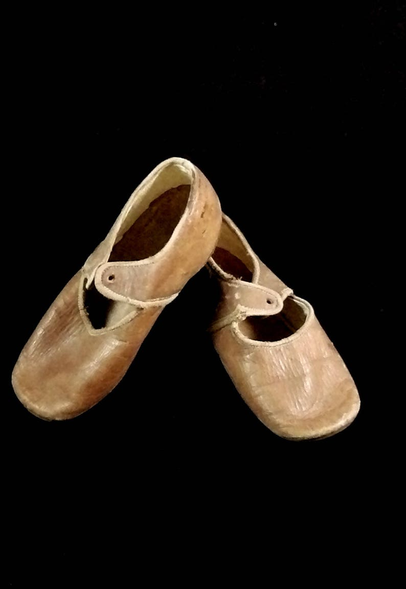 Antique leather child shoes 1920s German shoes doll image 0