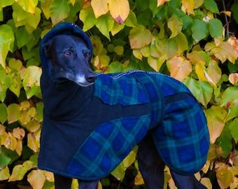 Whippet Fleece Coat, Greyhound Fleece, Fleece Dog coat, Reversible Dog coat, Winter Dog Coat, Snood Neck, Custom Made, Double Tartan Fleece