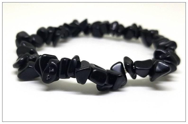 Black Onyx Stretchy Chip Bracelet Protection Chip Bracelet Natural Onyx Gemstone Bracelet