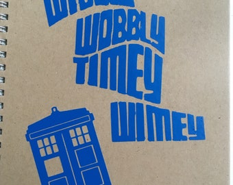 Dr who timey wimey vinyl notebook , whovian, comic con gift, Geeky different gifts.