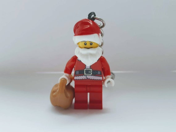 custom santa father christmas minifigure keyring keychain.  89f9aa802